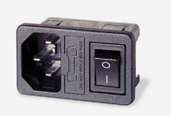 Built in socket IBM with fuse and Switch for 3 pole power cable 250 V / 10 A